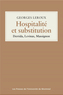 Book cover: Hospitalié et substitution - LEROUX GEORGES - 9782760642836